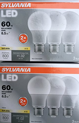Sylvania 6-Pack 8.5-Watt  2,700K A19 Medium Base  Soft White