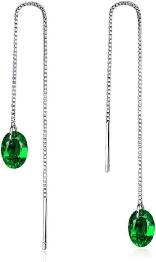 Pendientes Largos de línea Bola de Piedra Preciosa Verde Encanto Femenino Pendiente Colgante