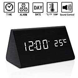 Dual Power Wooden LED Digital Alarm Clock, Displays Time Date And Temperature, Cube USB 4AAA Battery Powered Sound Control Desk Alarm Clock for Kid,Heavy Sleepers By Zeekoo (Black)