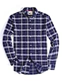 Menswear House Mens Casual Button Down Plaid Shirt Long Sleeve Cotton Regular Fit Dress Shirts (Navy, M)