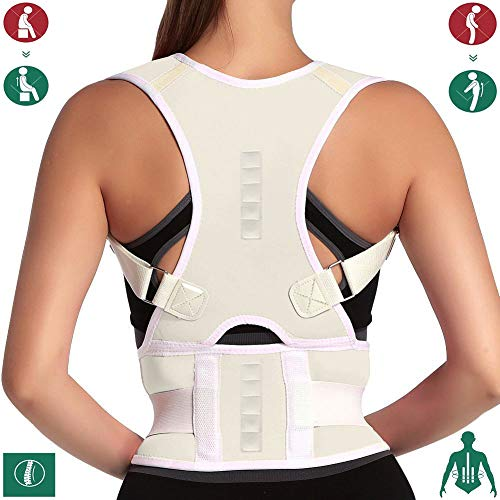 - 10 Magnets Back Braces for Back Pain - Best Fully Adjustable Posture Corrector for Men & Women - Improves Posture and 2 Steel Bone Provides Lumbar Support (Beige, Small)