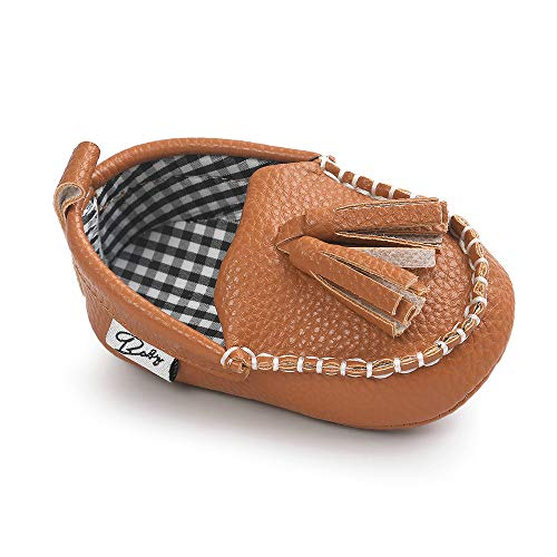 Infant Toddler Baby Boys' Girls' Loafer Premium Soft Sole Tassel Moccasinss Crib Shoes Brown 3-6 Months by YunqiGL