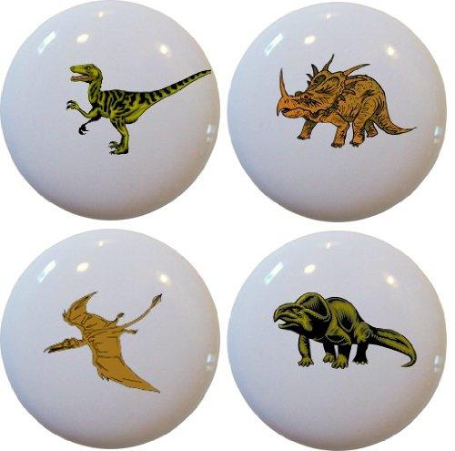 (4 Dinosaur T-Rex Ceramic Cabinet Drawer Pull Knobs)