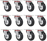 Online Best Service 12 Pack 3'' Swivel Caster Wheels Rubber Base with Top Plate & Bearing Heavy Duty