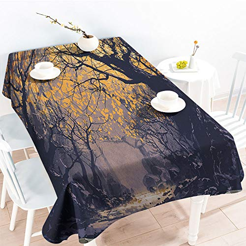 Jinguizi Rectangular Table Covers Autumn Beech Birch Branches with River Creek with Rocks Scary Artfor Party/Picnic TableclothMauve Yellow(70 by 120 Inch Oblong Rectangular)