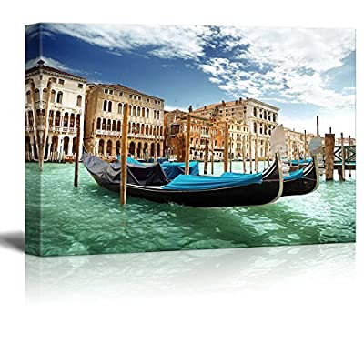 Canvas Prints Wall Art - Beautiful Scenery/Landscape Gondolas in Venice, Italy | Modern Wall Decor/Home Decoration Stretched Gallery Canvas Wrap Giclee Print & Ready to Hang - 24