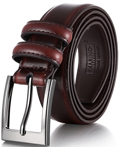 Marino's Men Genuine Leather Dress Belt with Single Prong Buckle - Mahogany - 38