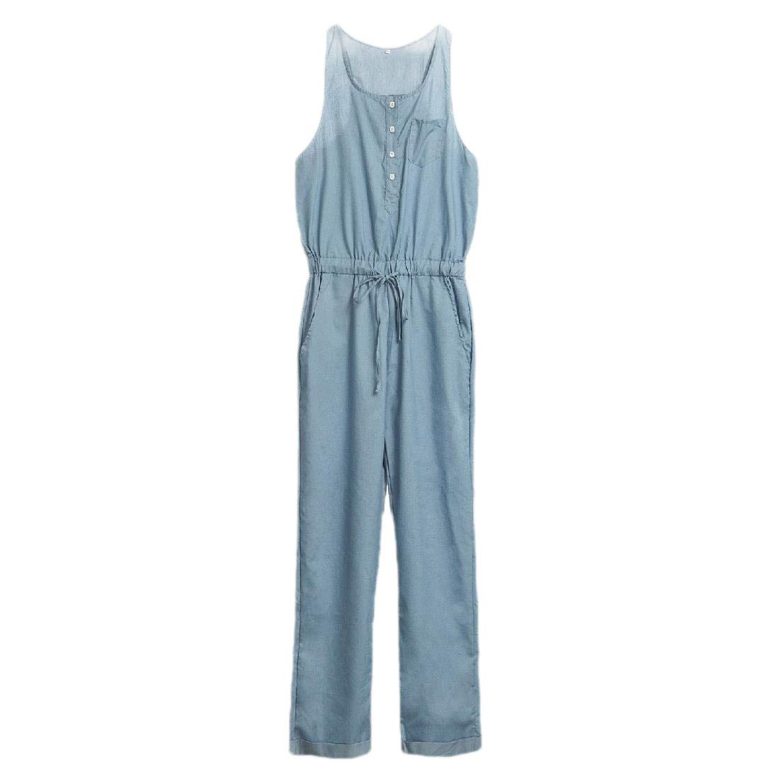 LinkShow Womens Stylish Sleeveless Outfits Denim Drawstring Jumpsuits Rompers
