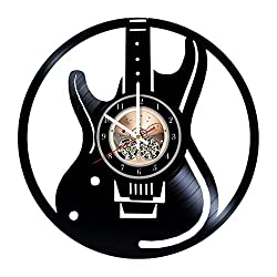 Electric Guitar Design Vinyl Record Wall Clock - Get Unique Home Room or Office Wall Decor - Gift Ideas for Boys and Girls - Musical Instruments Unique Modern Art