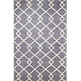 Bashian Greenwich collection HG265 hand tufted wool  amp; viscose area rug 3.9X5.9 Grey