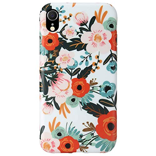 GOLINK Case for iPhone XR, Matte Finish Floral Series Slim-Fit Ultra-Thin Anti-Scratch Shock Proof Dust Proof Anti-Finger Print TPU Gel Case for iPhone XR 6.1 inch(Orange ()