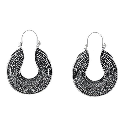 Yazilind Vintage Tibetan Alloy Cut Out Round Hoop Earrings Women Girls Gift (Cut Out Round Earrings)