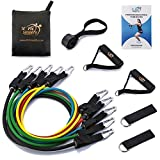 Fit Simplify Resistance Bands with Door Anchor, Ankle Straps, Instructional Booklet, Carry Bag, eBook and Online Videos - Exercise Band Set 11 pc