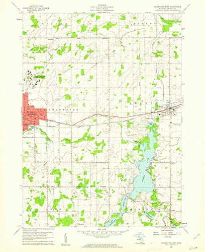 - YellowMaps Coldwater East MI topo map, 1:24000 Scale, 7.5 X 7.5 Minute, Historical, 1960, Updated 1961, 26.9 x 22 in - Paper