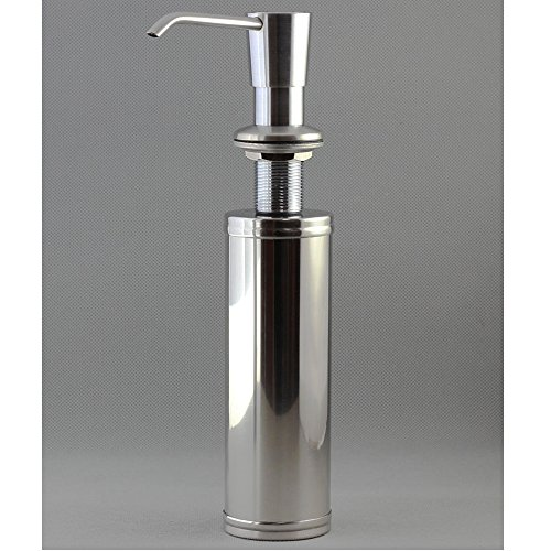 YKT 13 OZ Soap Lotion Dispenser with 304 Stainless Steel Brushed Nickel Hand Pump and 304 Stainless Steel Bottle Kitchen Sink Accessory with a 5-year Replacement Warranty