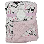 Princess-Baby-Blanket-Pink-Soft-Double-Layer-Sherpa-with-Fun-Paris-Design-for-Girl-Toddler-Child