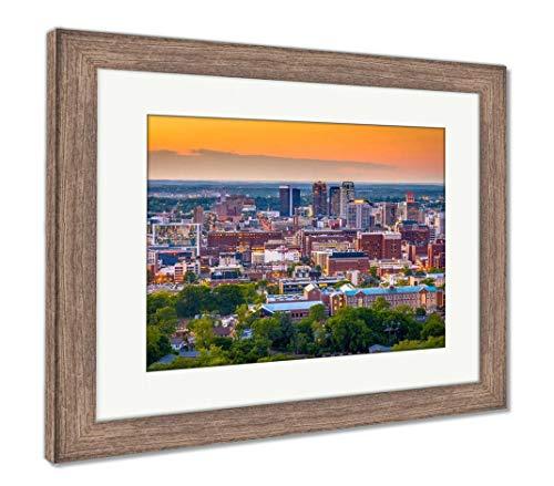 (Ashley Framed Prints Birmingham, Alabama, USA Downtown Skyline from Above at Dusk, Wall Art Home Decoration, Color, 26x30 (Frame Size), Rustic Barn Wood Frame, AG32675558)
