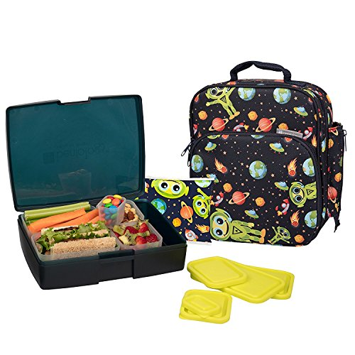 Alien Lunch Box - Bentology Lunch Bag and Box Set for Boys - Includes Insulated Durable Tote Bag with Handle and bottle holder, Bento Box, 5 Containers and Ice Pack - BPA & PVC Free (Alien)