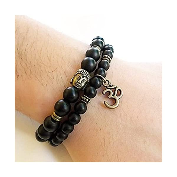 Shining Diva Fashion D'vine Set of 2 Yoga & Meditation Om Charm Buddha Reiki Beads Bracelet for Men Women(Black)(9377b)