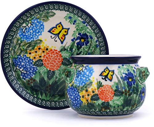 Polish Pottery 15 oz Bouillon Cup with Saucer made by Ceramika Artystyczna (Spring Garden Theme) Signature UNIKAT + Certificate of Authenticity ()