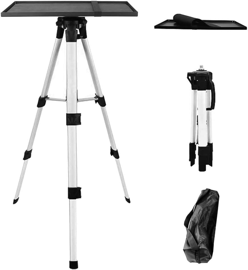 Aluminum Tripod Projector Stand, Multi-Function Stand with Tray Holder and Storage Bag, Adjustable Height 21 to 54 Inch for Projectors Laptops Photography