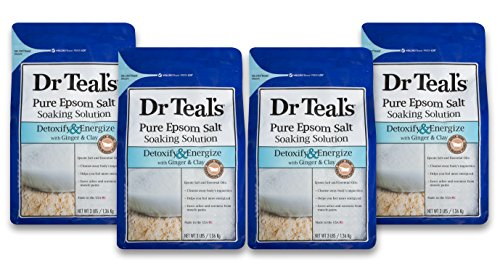 Dr Teal's Epsom Salt Soaking Solution, Detoxify & Energize, Ginger & Clay, 4 Count - 3lb Bags, 12lbs ()