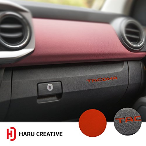 Haru Creative - Glove Box Dashboard Letter Insert Decal Sticker Compatible with and Fits Toyota Tacoma 2016 2017 2018 - Metallic Matte Chrome Red ()