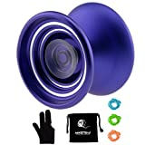Responsive Aluminum Metal Yoyo MAGICYOYO K7 for Beginners with Glove+3 Strings (Purple)