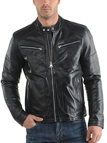 951e3625bc1 Men Moto Cow hide Motorcycle real leather jacket C104 at Amazon Men s  Clothing store