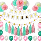75pcs Pink Mint Birthday Party Decoration Pack - Happy Birthday Banner - 21 Party Balloons -9 Paper Pom Poms - 10 Tassels - Dot Paper Garland Perfect For Girls Birthday Party Baby Wedding Bridal Show