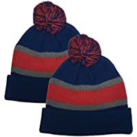 N'Ice Caps Big Kids Sports Fan 2 Ply Lined Knit Winter Hats - 2 Piece Packs
