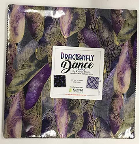 Dragonfly Dance Purple 10-inch Precut Squares Cotton Fabric Quilting Assortment Layer Cake by Kanvas Studio for Benartex