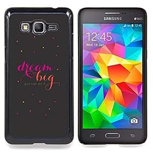"""Gran motivación Cotizaciones texto"""" - Metal de aluminio y de plástico duro Caja del teléfono - Negro - Samsung Galaxy Grand Prime G530F G530FZ G530Y G530H G530FZ/DS"""