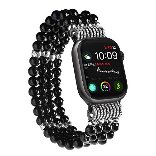 (Imymax Replacement for Apple Watch Band 38/40mm Handmade Beaded Elastic Stretch Faux Pearl Bracelet Replacement iWatch Strap Wristband for iWatch Series4/ 3/ 2/1 - Black for Women Girl )