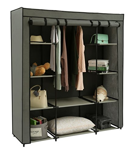 """Homebi Clothes Closet Portable Wardrobe Durable Clothes Storage Organizer Non-Woven Fabric Cloth Storage Shelf with Hanging Rod and 10 Shelves for Extra Storage in Grey, 59.05""""W x 17.72"""" D x 65.4"""