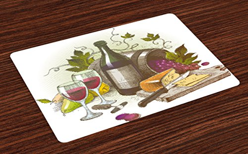 Ambesonne Wine Place Mats Set of 4, Vintage Style Composition with Wine and Cheese Fruits Gourmet Taste Beverage and Food, Washable Fabric Placemats for Dining Table, Standard Size, Purple Green from Ambesonne