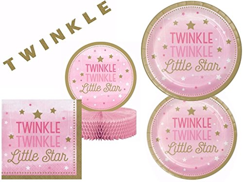 Twinkle Twinkle Little Star Pink Baby Shower / Birthday Party Deluxe Party Kit for 16 ()