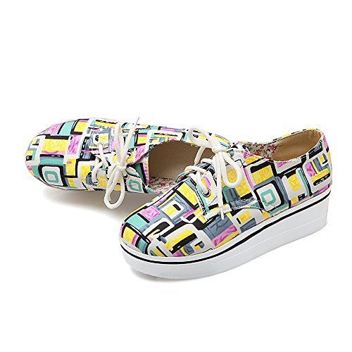 Women Breathable Lace Up Fashion Sneaker Comfy Low Top Loafers Cute Print Platform Shoes Prime Yellow oxnylI