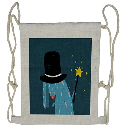 Lunarable Quirky Drawstring Backpack, Wizard Rabbit with Black Hat, Sackpack Bag