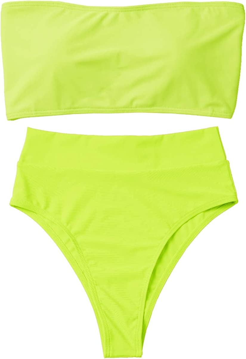 Summer Mae Damen Bikini Set High Waist Bandeau High Cut Tr/ägerlos Zweiteilig Bademode Badeanzug