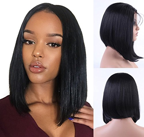 Shipping Cheap Free Wigs (Andria Hair Bob Lace Front Wigs for Black Women Long Bob Synthetic Lace Wig Layered Straight Wig Heat Resistant Short Hair Wig (14 Inch # 1 B)