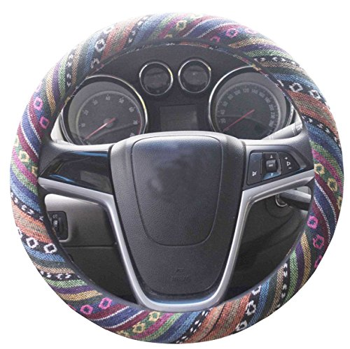 (Istn 2018 Large Ethnic Style Coarse Flax Cloth Automotive Steering Wheel Cover Anti Slip and Sweat Absorption Auto Car Wrap Cover (15.25''-16'', C))