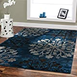 Premium Soft Contemporary Rug Blue 5×8 Rugs Modern Carpet For Living Room Navy Blue Beige Brown Cream Black Area Rugs 5×7 Clearance Under 50 Office Rug Bed Room Carpet Review