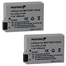 Fosmon® 2 Packs Premium Canon LP-E8 (7.4V / 1500 mAh) Extended Life Replacement Battery Pack Compatible with Canon EOS 700D / 550D / 600D / 650D, Rebel T2i / T3i / T4i / T5i, Kiss X5 / EOS Kiss X6i - Fosmon Retail Packaging
