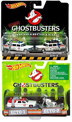 Ghostbusters Hot Wheels 4 Car Set Twin Pack EXCLUSIVE Ecto-1, Ecto-1A, Ecto-2 Motorcyle Models (Ghostbusters Kids Proton Pack)
