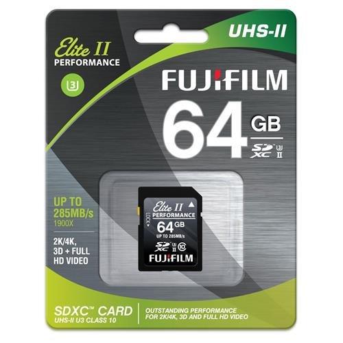 Fujifilm 64GB UHS-II Elite II Performance U3 Class 10 SDHC Card, 285MB Transfer Speed by Fujifilm