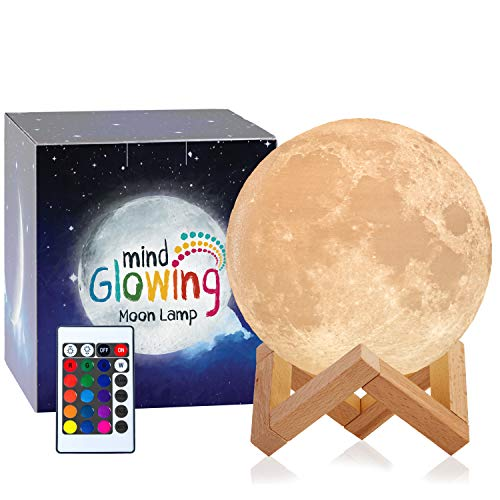 Mind-glowing 3D Moon Lamp - 16 LED Colors, Dimmable, Rechargeable Night Light (Large, 5.9in) with...