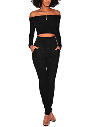 d9744465f3 PlushZone Women s Sexy Sweater 2 Pieces Outfits Casual Bodycon Long Sleeve  Off Shoulder Top Long Skinny Jumpsuits Rompers
