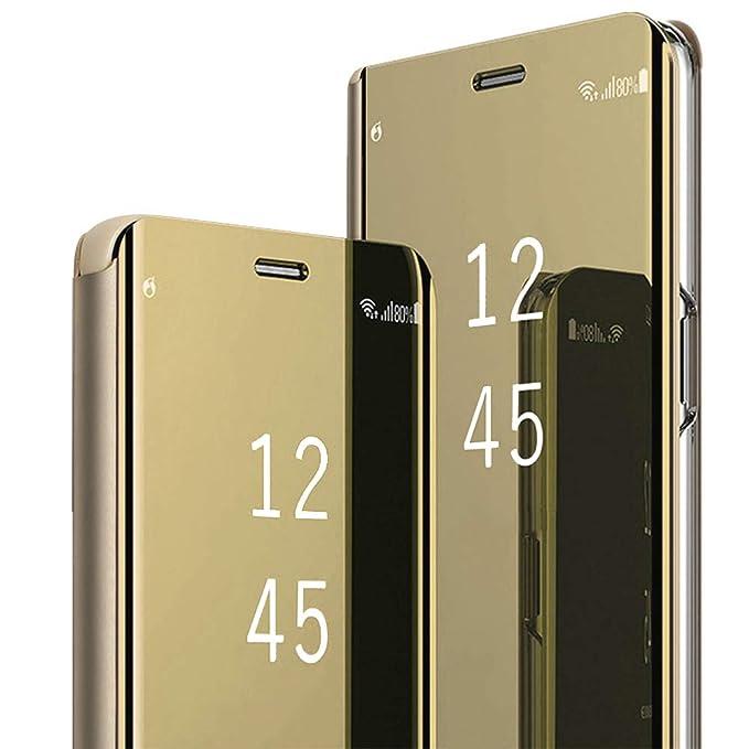 buy online 8eec7 641ec Amazon.com: for OnePlus 6 Mirror Case,Hard PC Flip Stand Phone Cover ...
