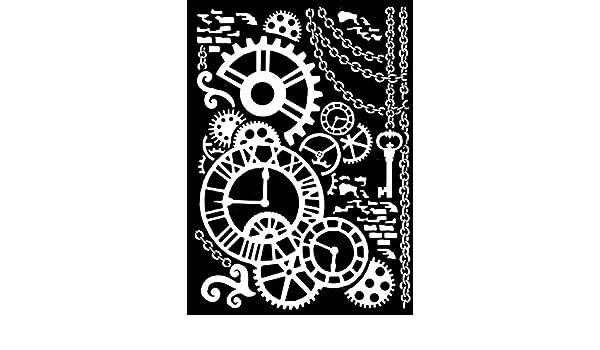 Clocks Clockwork Gears Industrial Time Tim Holtz Layering Stencil Template